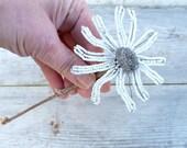Vintage daisy beaded flowe  white  & silver on stem French beadwork