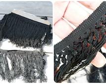 Vintage Antique Victorian  French black fringed shawl trim 2 yards and half