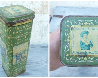 Vintage Antique 1900  tin box /  Chicory Leroux