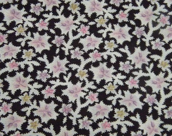 Vintage Eggplant Purple General Fabrics Company Calico Floral 1 1/2 Yards 12448