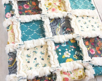 Floral Crib Quilt for Baby Girl - Teal and Gray Quilt - Floral Nursery Bedding - Floral Minky Quilt - Baby Shower Gift for Baby Girl