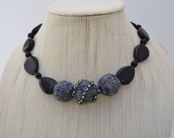 Black and Grey Beaded Necklace
