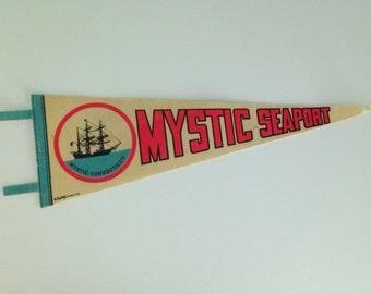 Vintage 70s Mystic Seaport Connecticut Souvenir Pennant