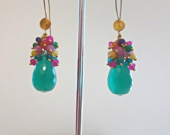 ON SALE Green Jade Briolette Earrings, Dangle Earrings, Multi Color, The Tropical Fiesta Earrings