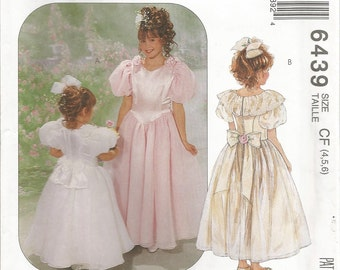 McCalls 6439, Sewing Pattern, Girls Dress with Attached Petticoat, Special Occasion Dress, Girls Formal Dress, Sizes 4 5 6, Uncut Pattern