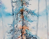 Frosted Sentinel, original watercolour painting by Angela Fehr