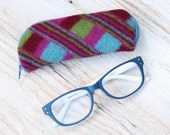 Felted Wool Glasses Case Colorful Patchwork Glasses Case in Turquoise Green and Maroon