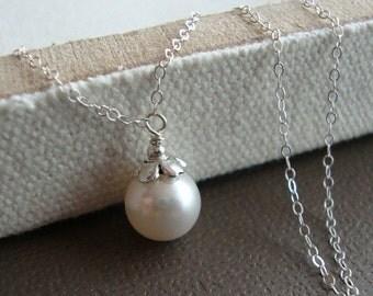 THREE DAY SALE Swarovski Pearl Drop Bridal Necklace - Sterling Silver, Bridesmaids,  Wedding