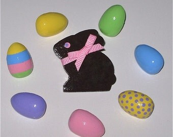 Chocolate Easter Bunny and Decorated Colored Egg Push Pins for Bulletin Board