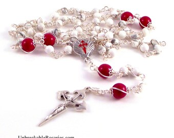 Santiago de Compostela St James Rosary Beads in White Magnesite and Red Czech Glass by Unbreakable Rosaries