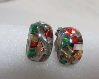 Vintage 50s Earrings Confetti Lucite Bombshell MCM Atomic Rockabilly 1950s Multi Color Red Silver Gold Green Shimmer