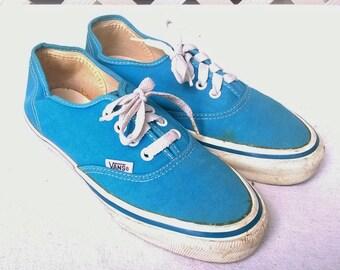 Vintage Vans, made in USA, Turquoise Cuties, Summer Skater Shoe, Ladies sz 7.5, Vintage Goodness