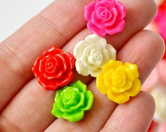 50 Pc. Resin Rose Flower Cabochons 16mm
