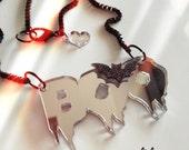 BOO BAT laser cut acrylic necklace