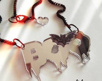 BOO BAT laser cut acrylic necklace