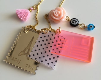 SALE!! Last one! PARIS Postcrossing, stamps, postcard laser cut necklace