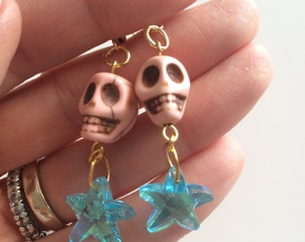 Sale!!! PASTEL SKULL Crystals earrings