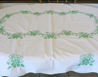 Vintage Embroidered White Linen Table Cloth - Beautiful Green Cross Stitching - Oblong 68 x 50