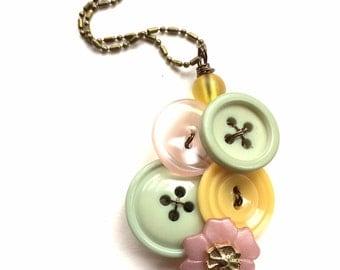 Button Pendant Necklaces with Pale Pastel Vintage Buttons