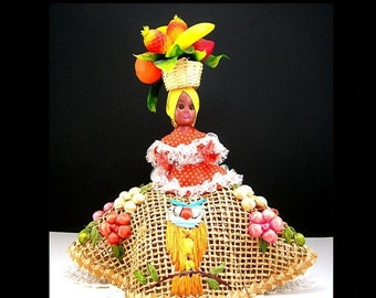 """Jamaican Doll, Colorful Fruit Basket on Head, Dolls of the World, 8"""" Doll, Woven Jute Skirt with Raffia Embroidery, Vintage 1950-60s"""