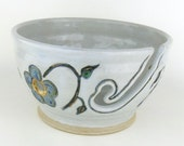 Ceramic Yarn Bowl - White with Blue Flowers