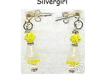Cute Little Holiday Bell Earrings Green OR Yellow OR Red and Black