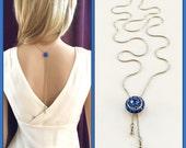 Backdrop Bridal Necklace, Crystal Back Drop Necklace, Unique Bridesmaid Gift, Prom Necklace, Blue, Swarovski Wedding, September Birthstone