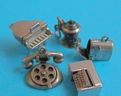 Vintage Charms - Moveable Parts - Sterling Silver - Piano, Telephone, Beer Stein - Choose 1
