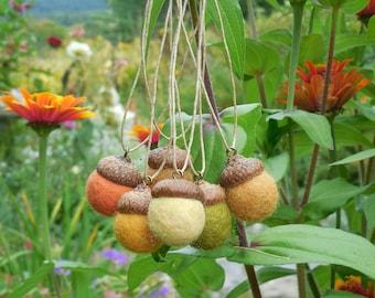 Autumn Acorn Ornaments /  Felted Wool Acorns / Home Decor / Autumn Fall Thanksgiving