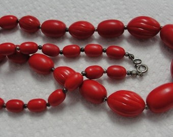 Red Beaded 24 inch Necklace