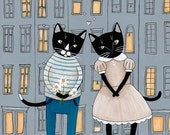 CAT Art First Day Cityscape Cat Folk Art Giclee Print 8x10, 11x14
