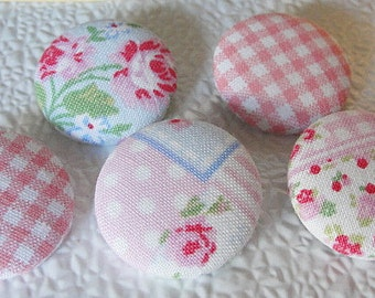 """FABRIC Covered BUTTONS--Pretty in PINKS--Sew On Buttons--Country Shabby Chic Pinks Fabric--1-1/8""""--28mm"""