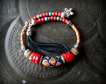 Bangle Bracelet, Leather Bracelet, Gemstone Bracelet, African Beads, Gypsy, Bohemian, Tassel , Memory Wire, Wrap Charm Bracelet
