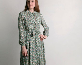 ON SALE Vintage Floral Dress - Spring Mint Green Tulip Print Dress - Large