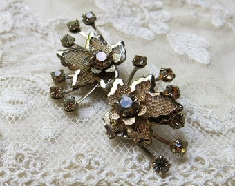 Vintage Modernist Wire Mesh Flower & Leaf Earrings, Smoky Rhinestones ... Wire Screen earrings, Mid 1940s-1950s