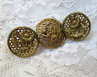 Antique Pierced Brass Buttons with Flower Escutcheons ... Lot of 3 Vintage Buttons