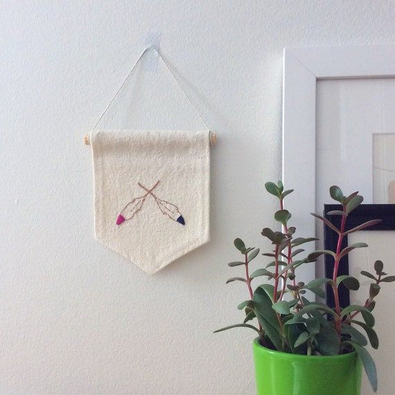 Feather wall pennant embroidery art modern folk pink