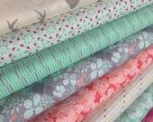Canyon Fabric Bundle of 8, Deer fabric, Hello Bear, Cotton fabric, Succulent fabric, Modern Fabric by Kate Spain Moda- Choose the Cut