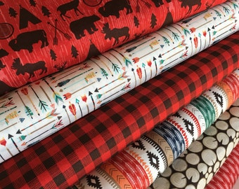 High Adventure fabric bundle, Woodland Animals, Deer fabric, Bear, Arrow fabric, Bundle of 6- You Choose the Cut, Free Shipping Available