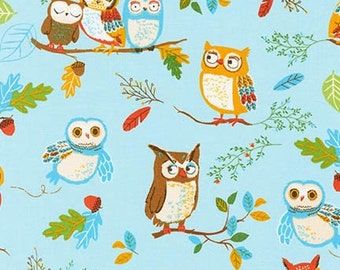 Owl fabric, Woodland Animals, Kids fabric, Forest Fellows fabric, Nature fabric, Robert Kaufman, Owls in Wild, Cotton fabric by the yard