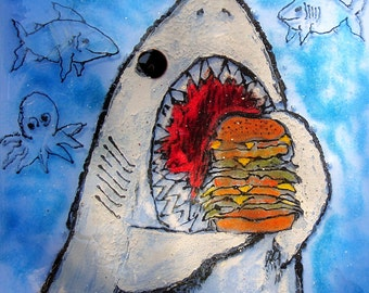 Great White Shark Eating a Giant Cheeseburger Square Fused Glass Plate Functional Art Glass