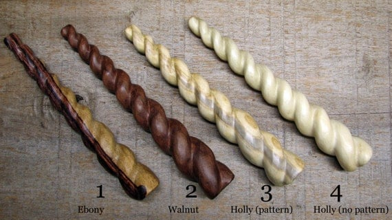 Reserved listing for Beth - Spiral carved Holly wood hair stick No. 4, Unicorn style by Tanja Sova