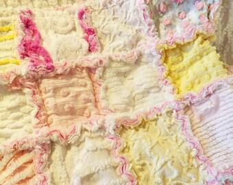 Baby Rag Quilt - Vintage Chenille - Baby Shower Gift - Crib Quilt - Heirloom Baby Quilt