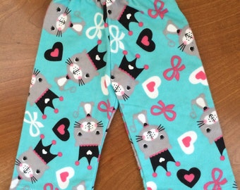 Doll Princess kitty cat pants, doll PJ flannel pants, girl doll pants,  American Doll clothes 18 inch doll clothes, cat pajama pants