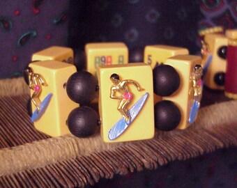 1950s Surfer bakelite Mah Jong Bracelet Jan Carlin Aloha