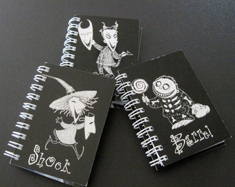 Lock, Shock & Barrel Nightmare Before Christmas Mini Notebook Set of 3 - Recycled Trading Cards - Ready to Ship