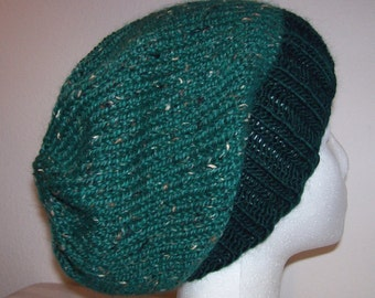 Wool/Alpaca-Tweed Hipster Beanie - Slouchy Knit Hat - Hand Knit Hat - Emerald Green Toque