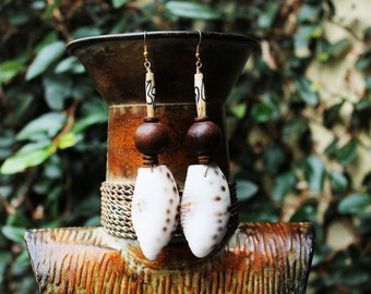 Sea Shell Earrings, African Earrings, Tribal Earrings, Cowry Shell Earrings, For Her, Sea Treasure Cowry Shell Slice Earrings