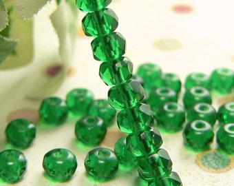 Emerald Green Czech Glass Beads Rondell Transparent 3x5mm Gemstone Donut  Spacers (50)