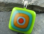Colorful Fused Glass Pendant Design. Bullseye Design. Handmade Glass Jewelry. Fused Glass Pendant. Modern Jewelry. Handcrafted in Texas.